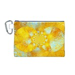 Gold Blue Abstract Blossom Canvas Cosmetic Bag (M) Front