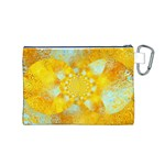 Gold Blue Abstract Blossom Canvas Cosmetic Bag (M) Back