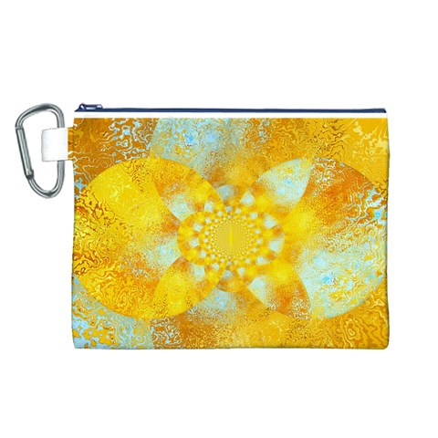 Gold Blue Abstract Blossom Canvas Cosmetic Bag (L)