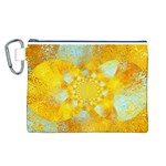 Gold Blue Abstract Blossom Canvas Cosmetic Bag (L) Front