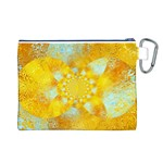 Gold Blue Abstract Blossom Canvas Cosmetic Bag (L) Back