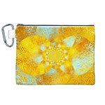 Gold Blue Abstract Blossom Canvas Cosmetic Bag (XL) Front