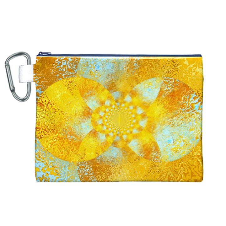 Gold Blue Abstract Blossom Canvas Cosmetic Bag (XL)