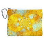 Gold Blue Abstract Blossom Canvas Cosmetic Bag (XXL) Front