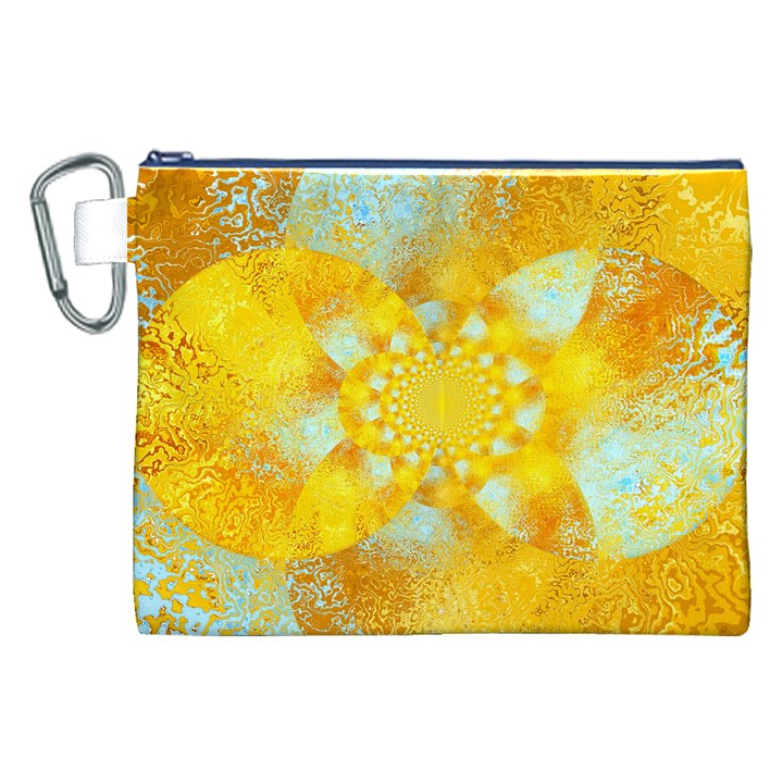 Gold Blue Abstract Blossom Canvas Cosmetic Bag (XXL)