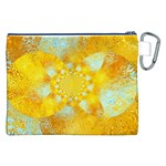 Gold Blue Abstract Blossom Canvas Cosmetic Bag (XXL) Back