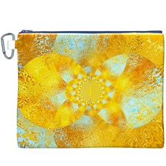 Gold Blue Abstract Blossom Canvas Cosmetic Bag (XXXL)