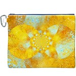 Gold Blue Abstract Blossom Canvas Cosmetic Bag (XXXL) Front