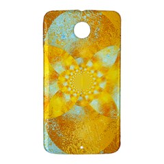 Gold Blue Abstract Blossom Nexus 6 Case (White)