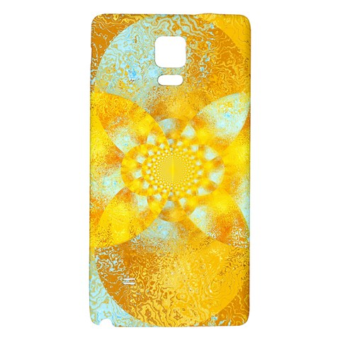 Gold Blue Abstract Blossom Galaxy Note 4 Back Case