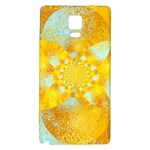Gold Blue Abstract Blossom Galaxy Note 4 Back Case Front