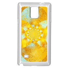 Gold Blue Abstract Blossom Samsung Galaxy Note 4 Case (White)