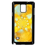 Gold Blue Abstract Blossom Samsung Galaxy Note 4 Case (Black) Front