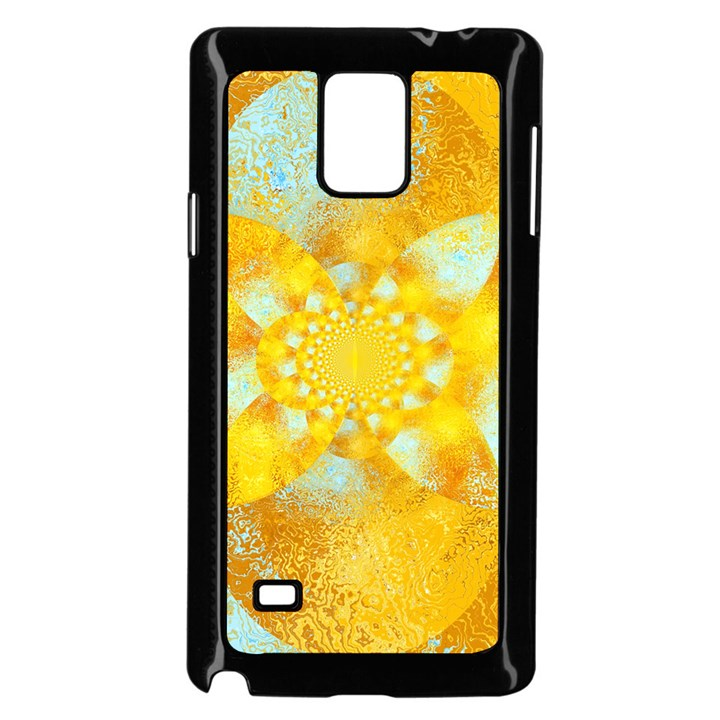 Gold Blue Abstract Blossom Samsung Galaxy Note 4 Case (Black)