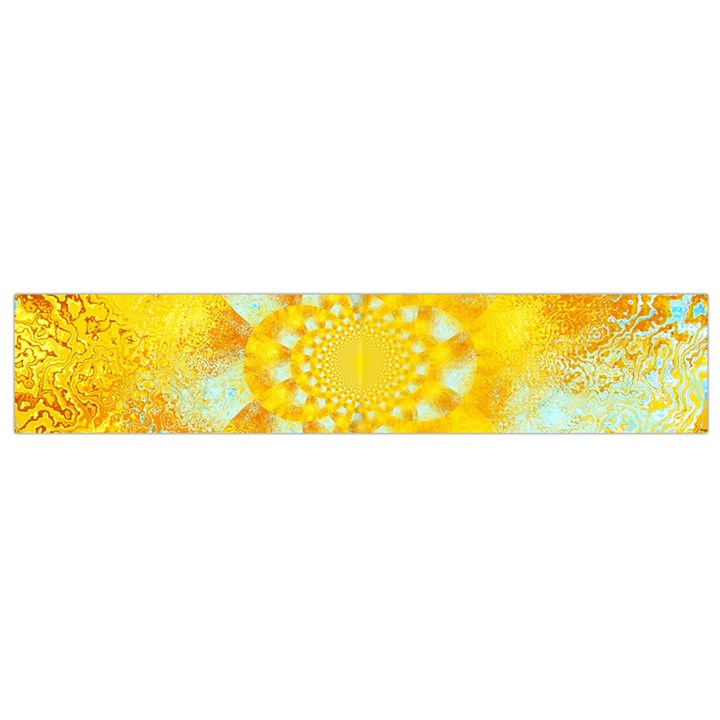 Gold Blue Abstract Blossom Flano Scarf (Small)