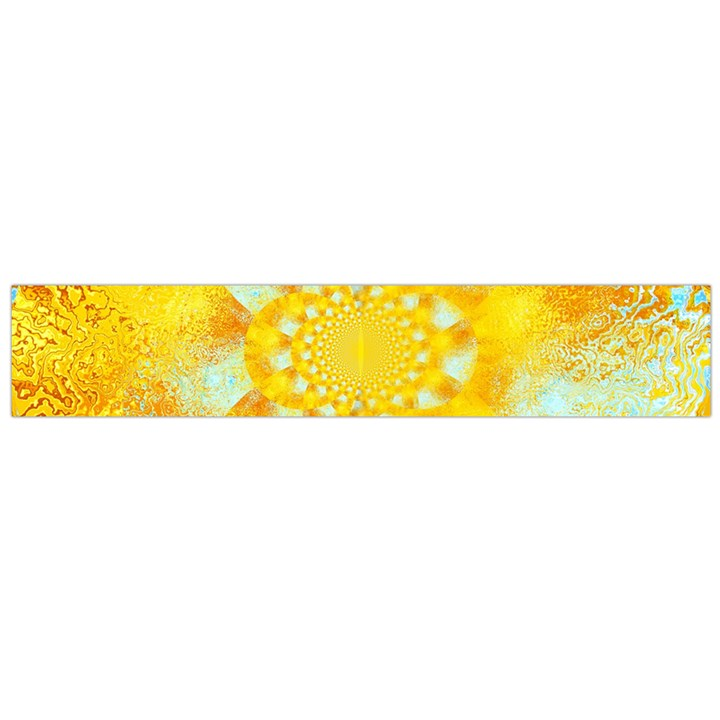 Gold Blue Abstract Blossom Flano Scarf (Large)