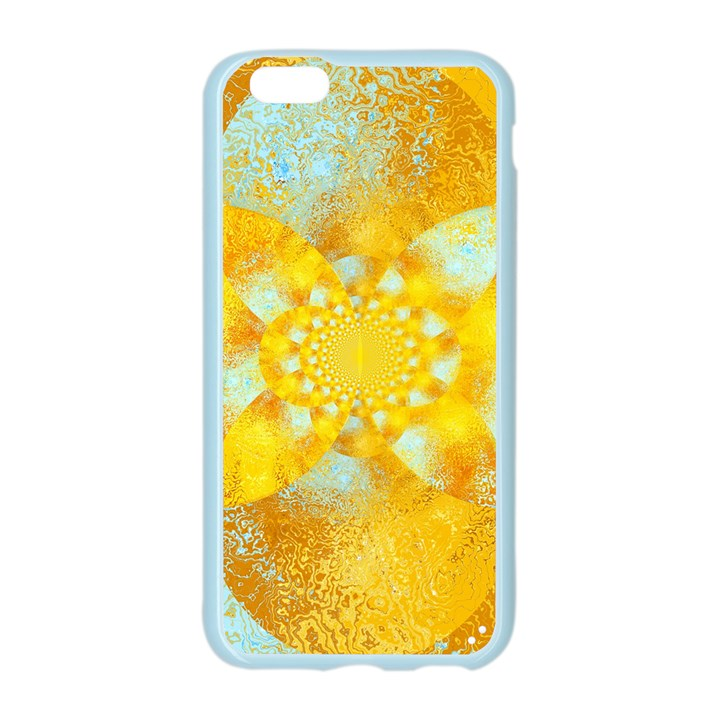 Gold Blue Abstract Blossom Apple Seamless iPhone 6/6S Case (Color)