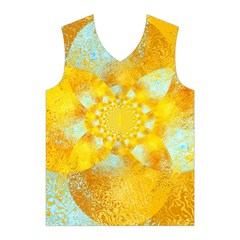 Gold Blue Abstract Blossom Men s Basketball Tank Top