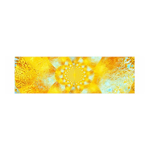 Gold Blue Abstract Blossom Satin Scarf (Oblong)