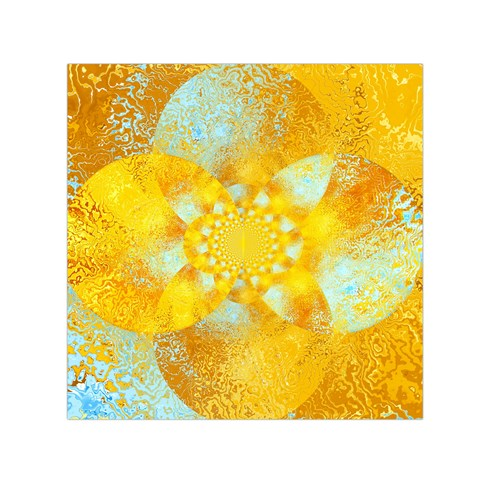 Gold Blue Abstract Blossom Small Satin Scarf (Square)