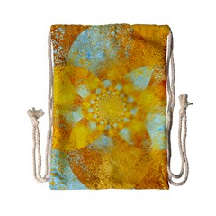 Gold Blue Abstract Blossom Drawstring Bag (Small)