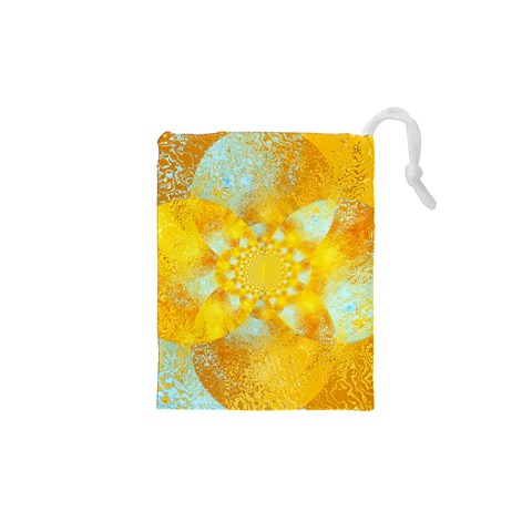 Gold Blue Abstract Blossom Drawstring Pouches (XS)