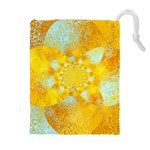 Gold Blue Abstract Blossom Drawstring Pouches (Extra Large) Front
