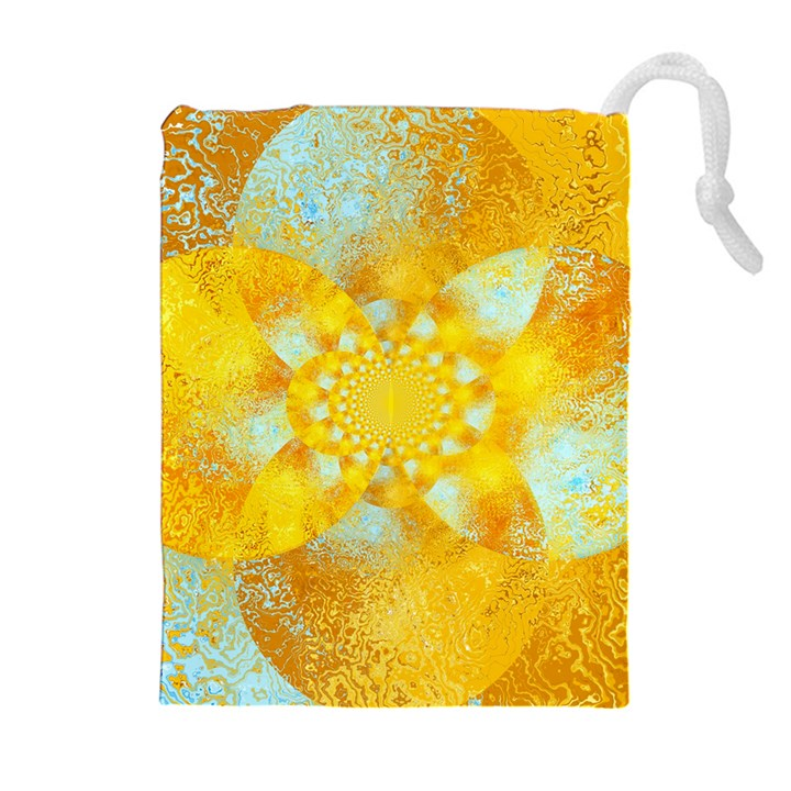 Gold Blue Abstract Blossom Drawstring Pouches (Extra Large)