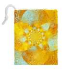 Gold Blue Abstract Blossom Drawstring Pouches (Extra Large) Back