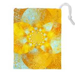 Gold Blue Abstract Blossom Drawstring Pouches (XXL)