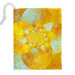 Gold Blue Abstract Blossom Drawstring Pouches (XXL) Back
