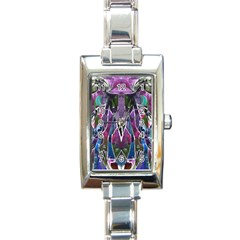 Sly Dog Modern Grunge Style Blue Pink Violet Rectangle Italian Charm Watch