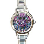 Sly Dog Modern Grunge Style Blue Pink Violet Round Italian Charm Watch Front
