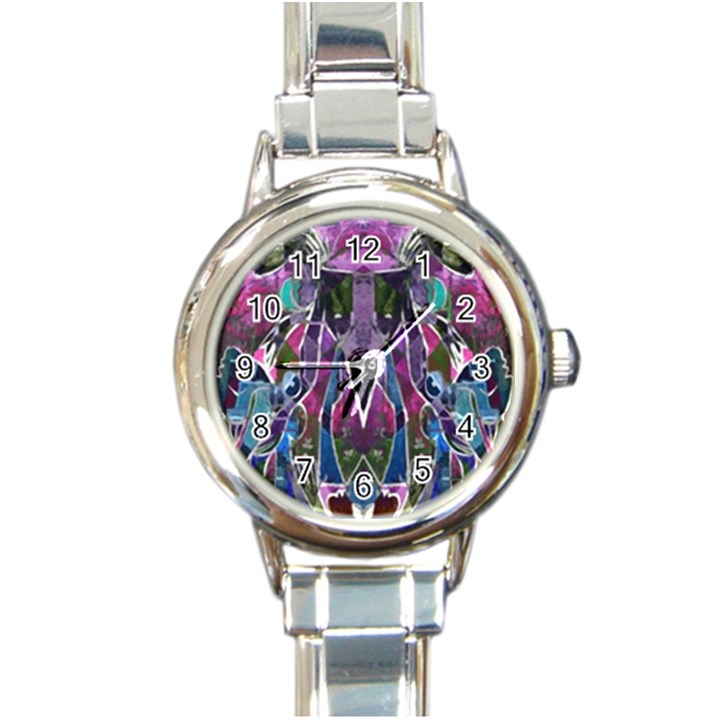 Sly Dog Modern Grunge Style Blue Pink Violet Round Italian Charm Watch