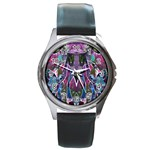 Sly Dog Modern Grunge Style Blue Pink Violet Round Metal Watch Front
