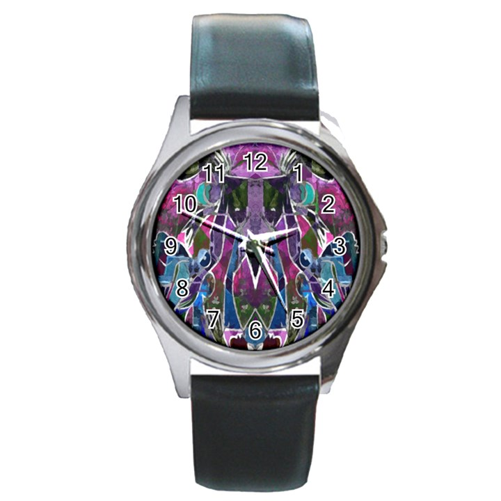 Sly Dog Modern Grunge Style Blue Pink Violet Round Metal Watch