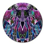 Sly Dog Modern Grunge Style Blue Pink Violet Round Mousepads Front