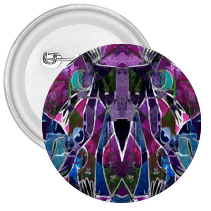 Sly Dog Modern Grunge Style Blue Pink Violet 3  Buttons