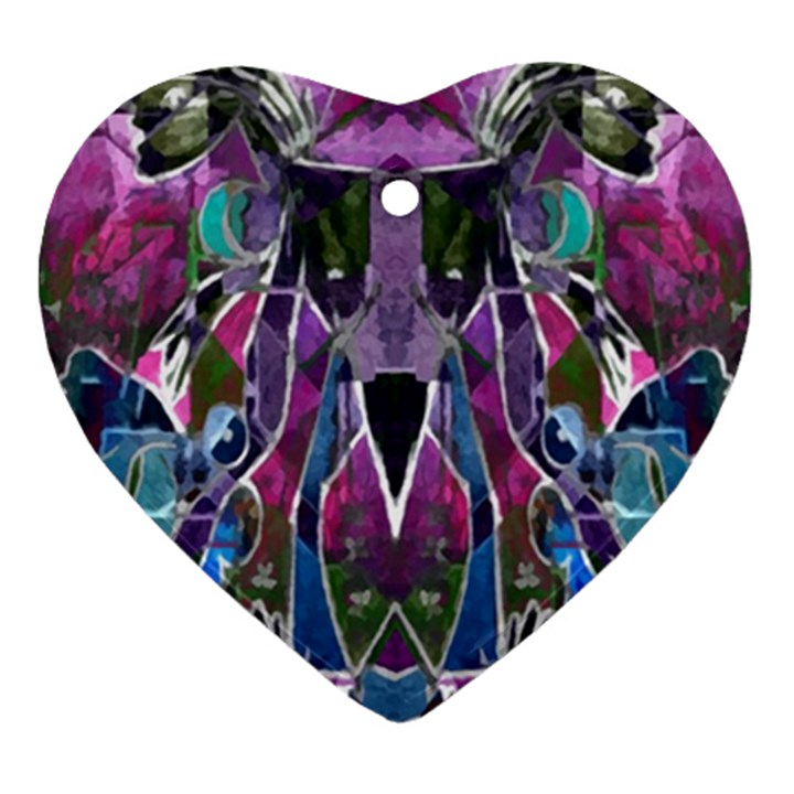 Sly Dog Modern Grunge Style Blue Pink Violet Ornament (Heart)