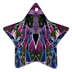 Sly Dog Modern Grunge Style Blue Pink Violet Ornament (star)