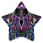 Sly Dog Modern Grunge Style Blue Pink Violet Ornament (Star)  Front