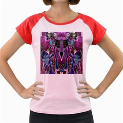 Sly Dog Modern Grunge Style Blue Pink Violet Women s Cap Sleeve T-Shirt