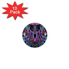 Sly Dog Modern Grunge Style Blue Pink Violet 1  Mini Buttons (10 pack)
