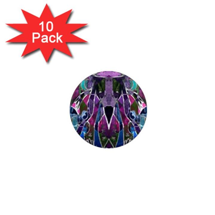 Sly Dog Modern Grunge Style Blue Pink Violet 1  Mini Magnet (10 pack)