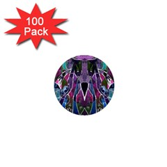 Sly Dog Modern Grunge Style Blue Pink Violet 1  Mini Buttons (100 Pack)