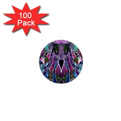Sly Dog Modern Grunge Style Blue Pink Violet 1  Mini Magnets (100 pack)