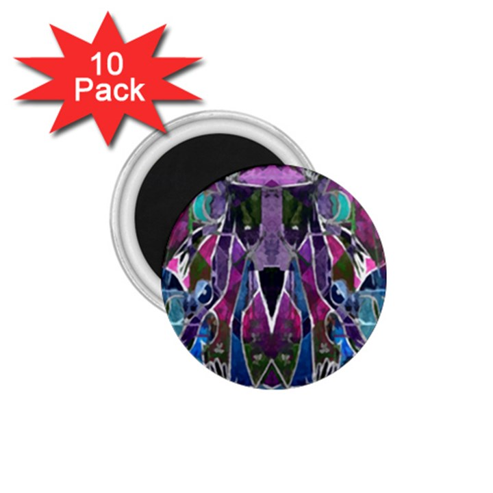Sly Dog Modern Grunge Style Blue Pink Violet 1.75  Magnets (10 pack)