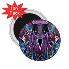 Sly Dog Modern Grunge Style Blue Pink Violet 2 25  Magnets (100 Pack)