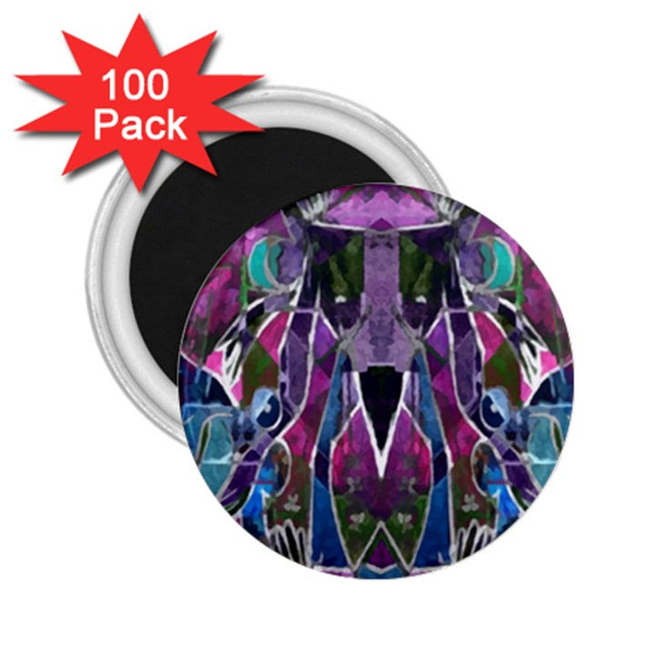 Sly Dog Modern Grunge Style Blue Pink Violet 2.25  Magnets (100 pack)