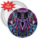 Sly Dog Modern Grunge Style Blue Pink Violet 3  Buttons (10 pack)  Front